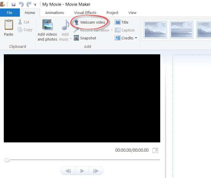 The Webcam Video button on Windows